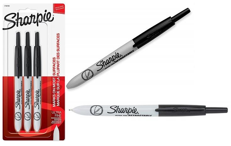 Sharpie Retractable Ultra Fine Black Markers