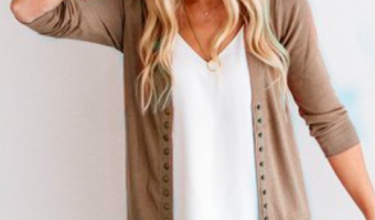 brown snap cardigan on woman