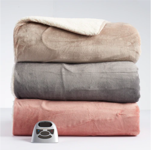 Biddeford Heated Velour Sherpa Blankets Starting at $42.49 (Reg. $199.99)