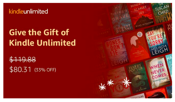 Kindle Unlimited 12 Month Membership Only 80 Regularly 120