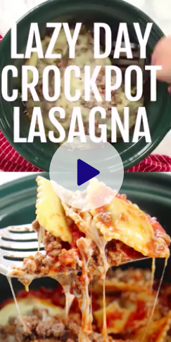 Slow Cooker Lasagna being made in the crockpot with ravioli - I love making this dinner, it's so easy! #slowcooker #crockpot #lasagna