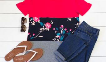 Colorblock Floral Tops Ship for as Low as $11.98