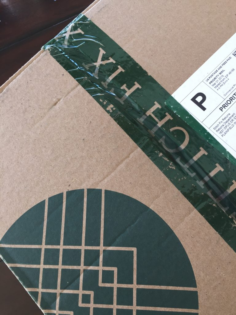 The stitch fix box ready to open.