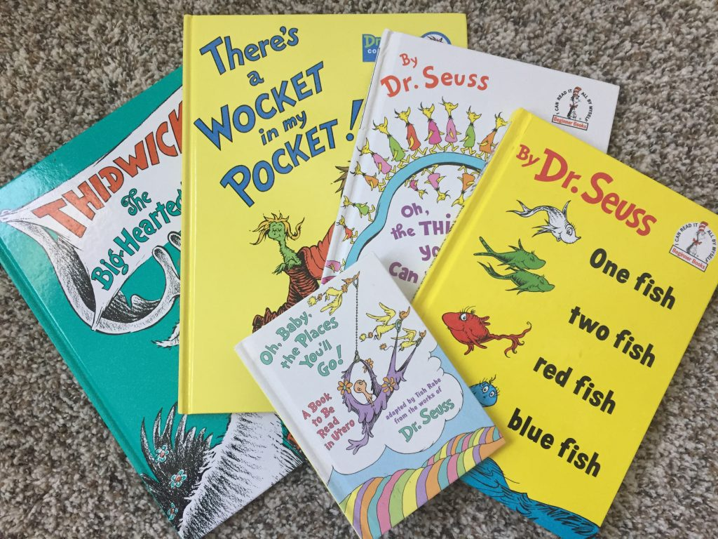 Get free baby samples by mail without surveys like these free Dr Seuss books that our daughter got!