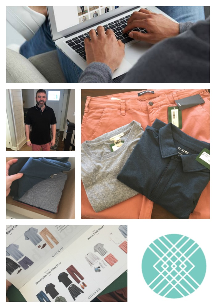 My husband wearing his stitch fix mens box items