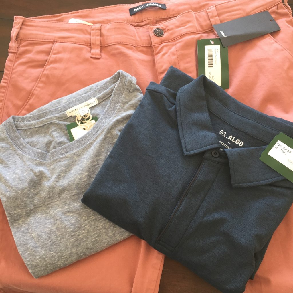 Three pieces of clothes from my husband's Men's Stitch Fix review
