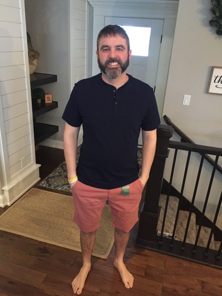 My husband trying out a henley from his Stitch Fix box.