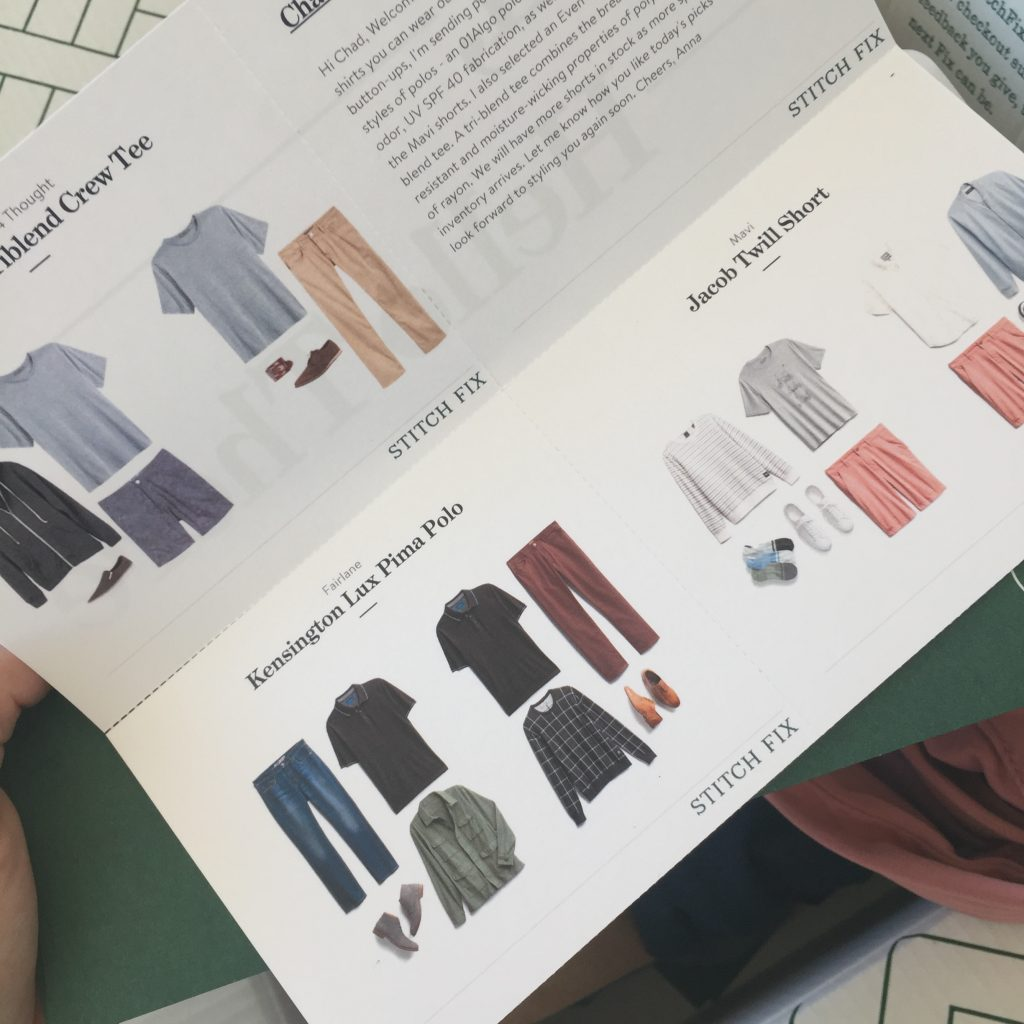 Paper that comes with the StitchFix box to show outfit combinations and men's style ideas.