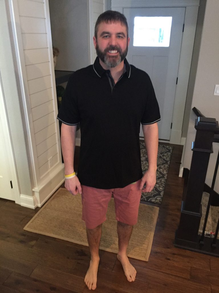 My husband wearing two pieces from his Men's Stitch Fix Box this month. These are from our review!