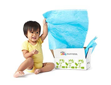 Baby opening free Amazon Baby Registry box