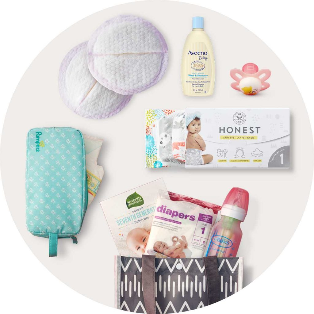 Free baby welome box that you get from Target when you make a free registry