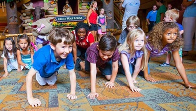 Kids playing games during the storytime at Great Wolf Lodge Michigan