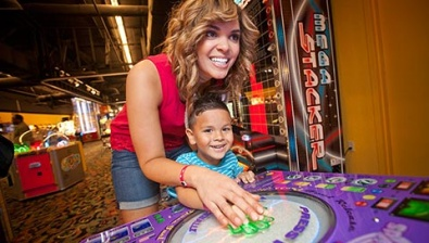 Mom and son playing in the arcade at the Great Wolf Lodge in Traverse City