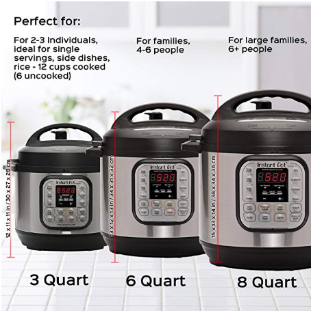 showing the sizes of the Instant Pots