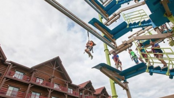 When you use the Groupon Great Wolf Lodge you save money so you can add on the Paw Pass for this ropes course