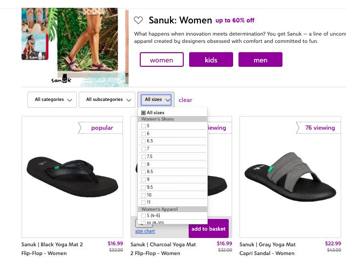 Sanuk sandals dropdown menu
