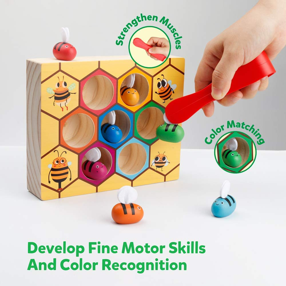 Fine Motor Skill Toy Bee Hive Motessori Wooden Sorting Puzzle for 2 year old boys