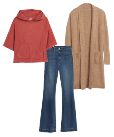 Gap cardigan with a rust colored shirt and flare jeans