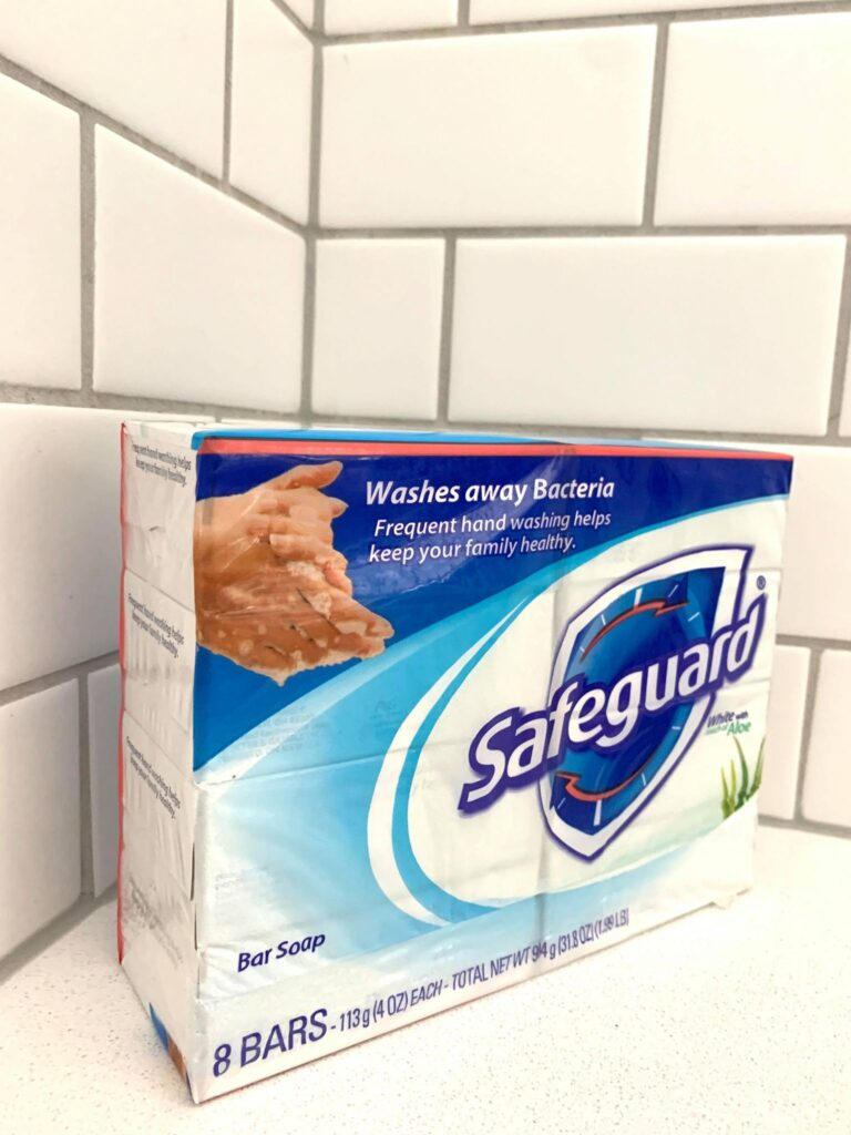 8 pack of Safeguard soap in the shower on a bench