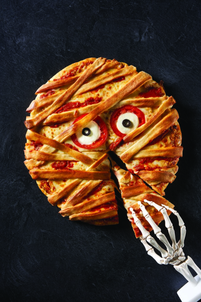 Mummy Pizza for Halloween