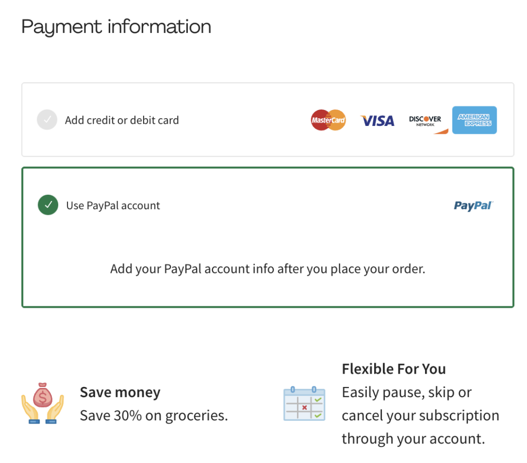 choose payment for Hello Fresh - you can use Paypal or a credit card for Hello Fresh payment