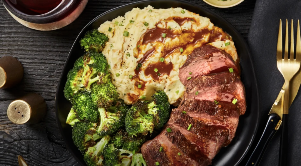 steak and potatoes from the hello fresh dinner menu plan