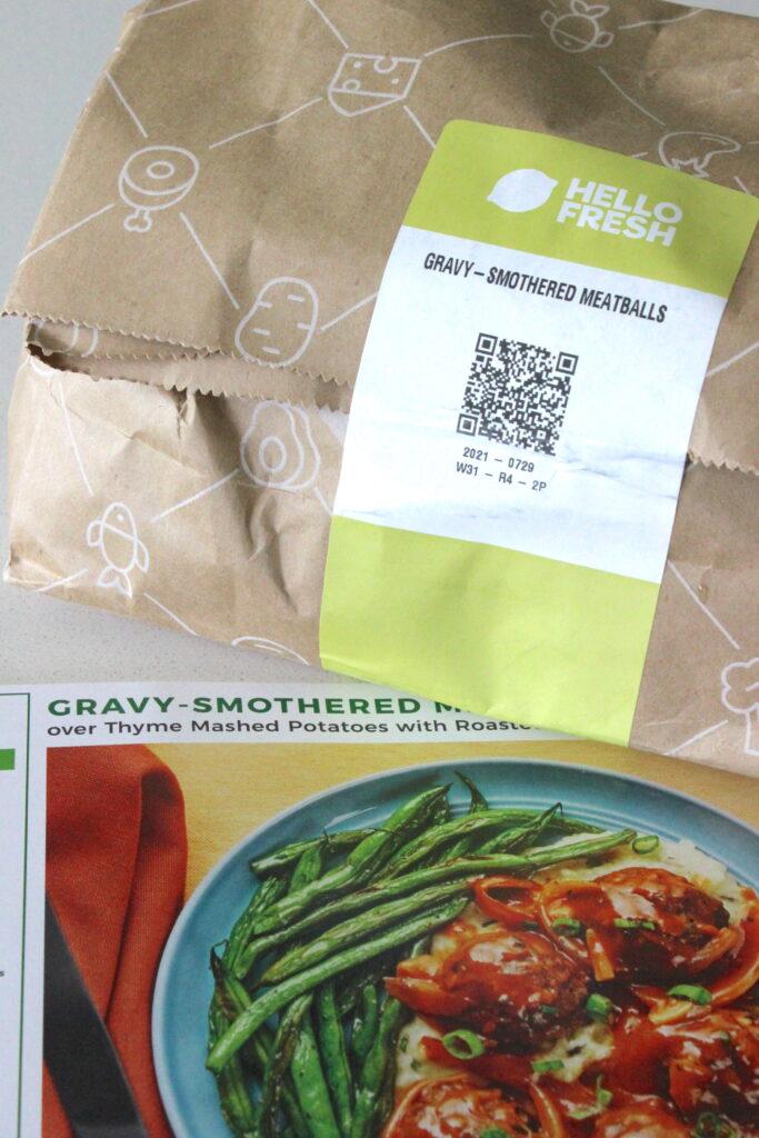 bag of food for hello fresh dinner of gravy smothered meatballs